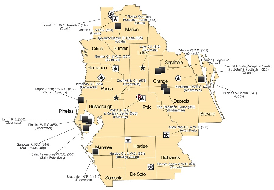 Map of Region 3 Correctional Facilities, see list below for details. For more information on a facility, click the facility symbol.